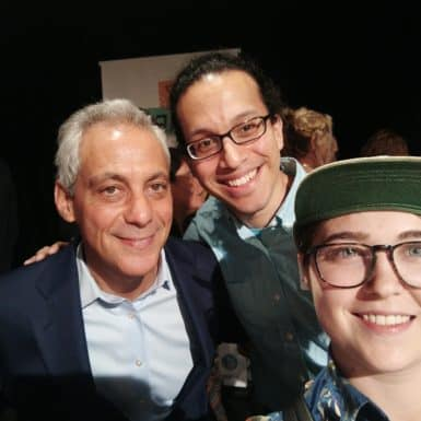 NAC murals team members with Mayor Rahm Emanuel at the Year of Public Art kick-off