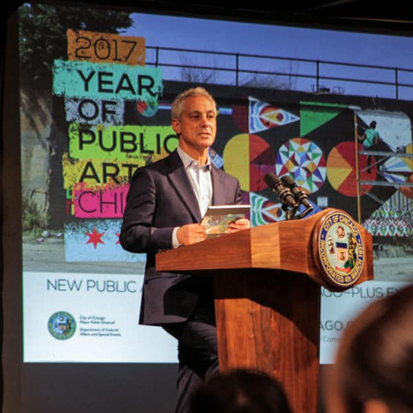 Mayor Rahm Emanuel announcing artists for Year of Public Art (YOPA) 50x50 Neighborhood Arts Project